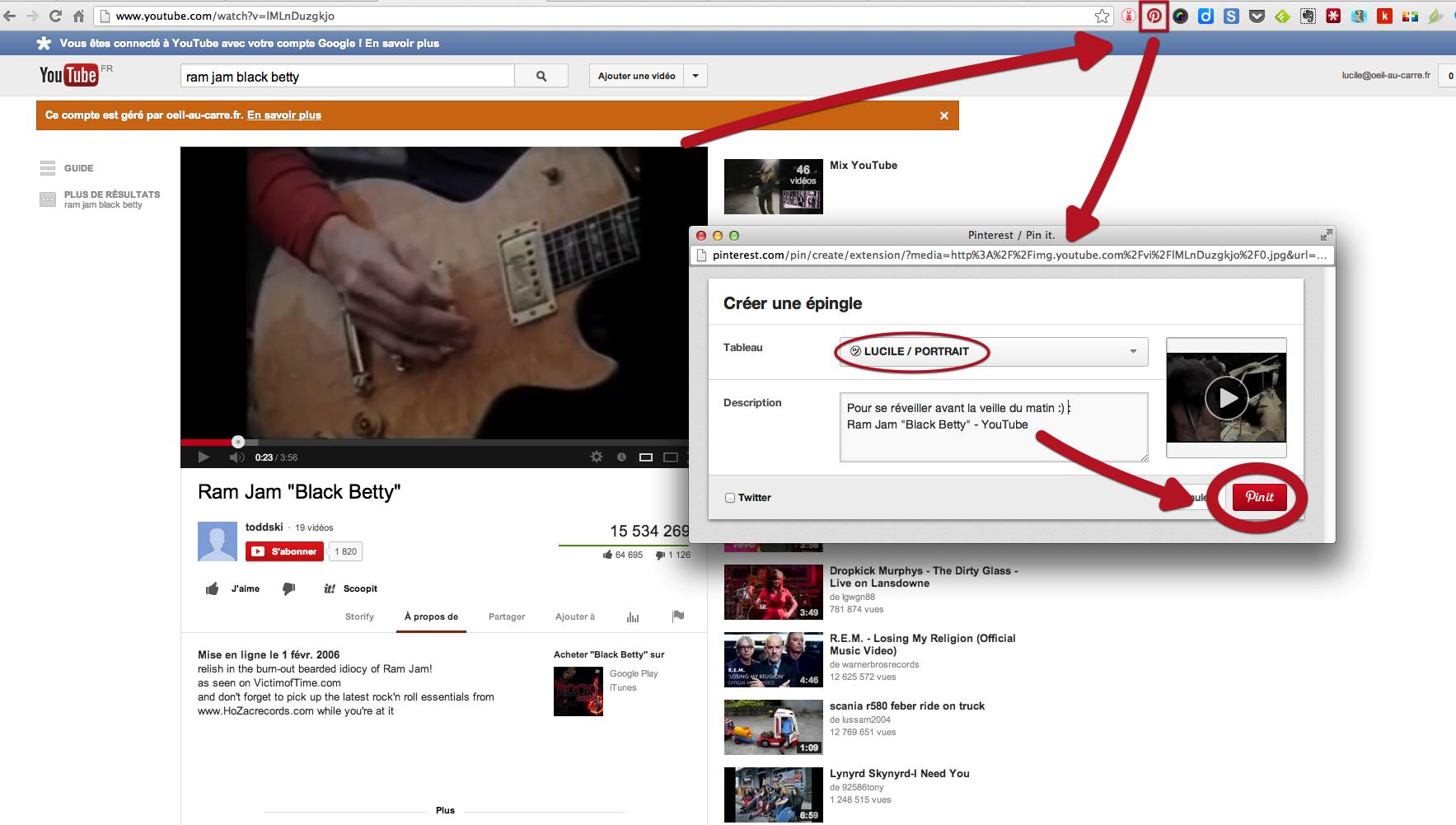 Comment capturer un contenu pour Pinterest via Youtube