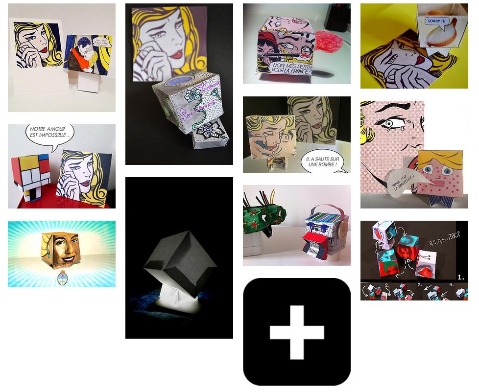 exemples de paper toys réalisés pour le concours du centre pompidou