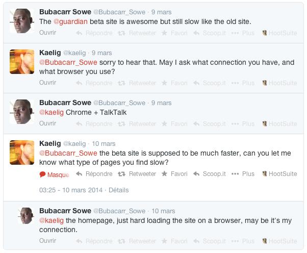 Exemple de problème détecté sur Twitter