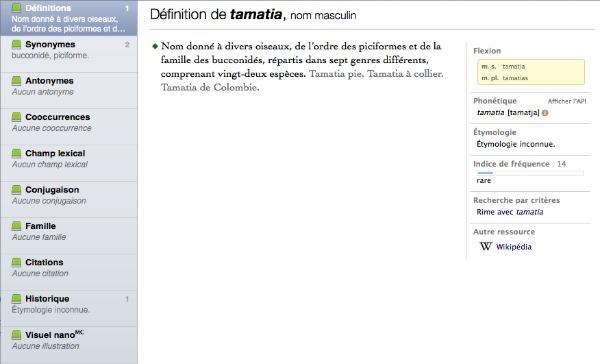 Mot rare Tamatia