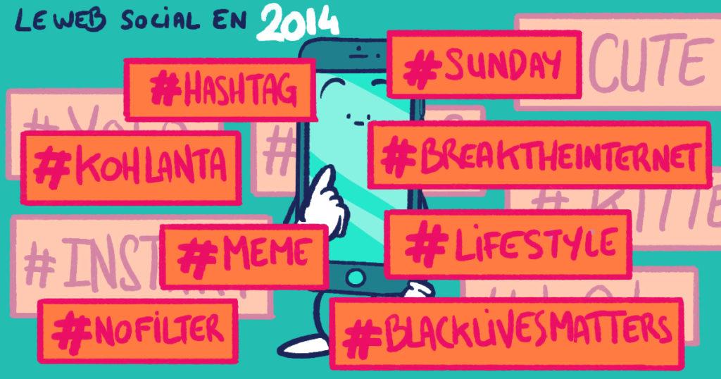 L'apparition des hashtags en 2014