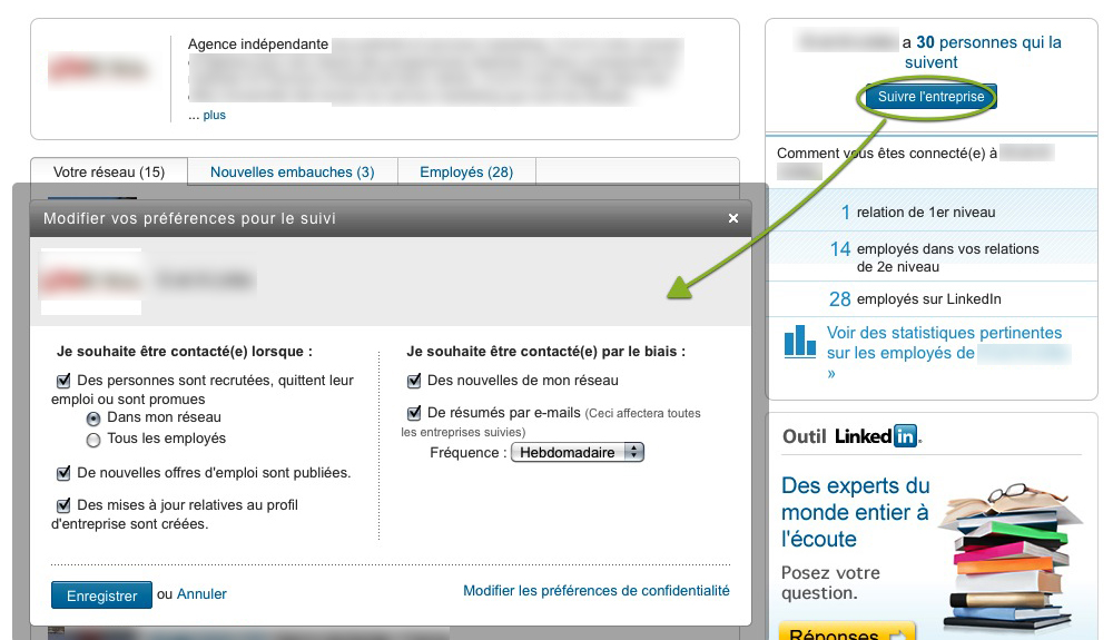 LinkedIn veille entreprises