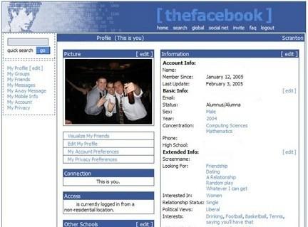 Le tout premier profil sur Facebook