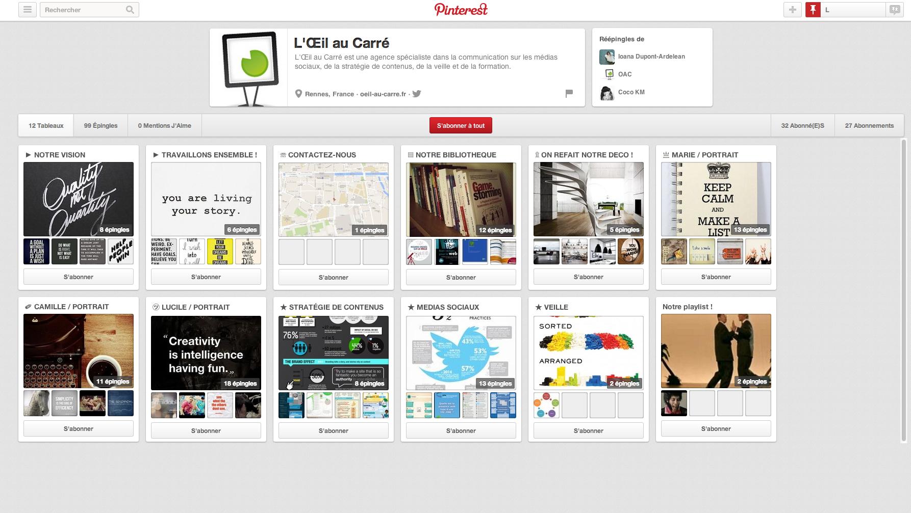 Capture écran du Pinterest de l'Oeil au carré