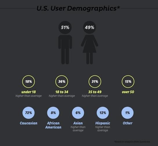 Extrait d'une infographie représentant la démographie des utilisateurs de Tumblr