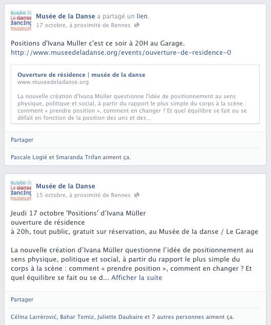 Exemple d'un doublon d'agenda sur Facebook, le petit musée de la danse