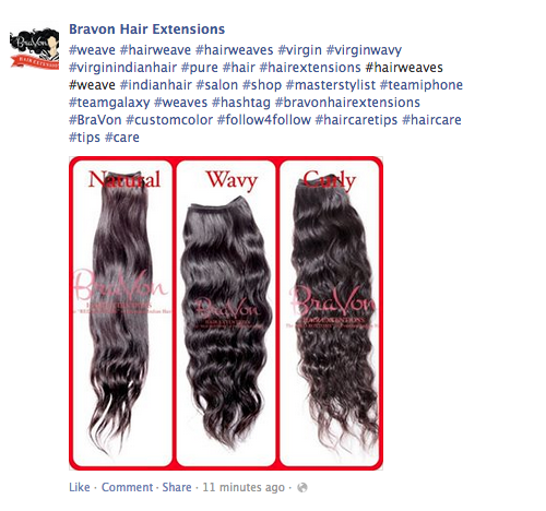 Exemple présentant une succession de hashtags sur Facebook. Trop c'est trop !
