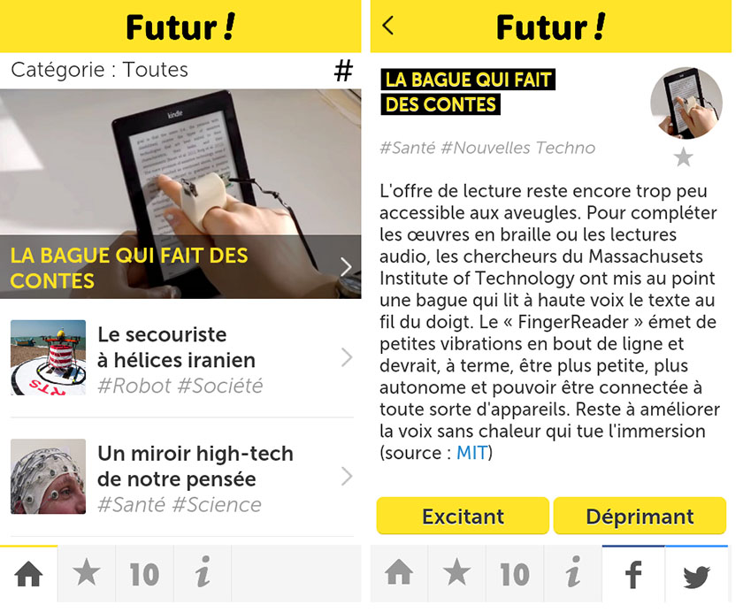 Screenshots application Futur !