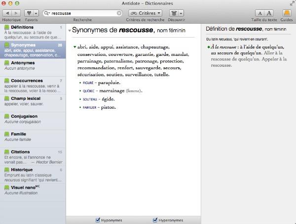 """Exemple de synonyme pour le mot """"rescousse"""" avec Antidote 8"""